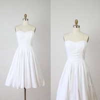 Sweet Cotton Casual Halter Vintage Wedding Dress  S by salvagelife