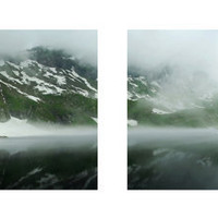 Panorama made out of two prints foggy lake in by behindmyblueeyes