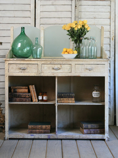 Amazing Vintage Pharmacy Shop Counter with Frosted Glass Panels - &amp;#36;2995 - The Bella Cottage