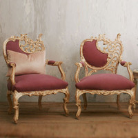 Vintage Glamorous Italianate Armchairs in White Wash in Dusty Violet - The Bella Cottage