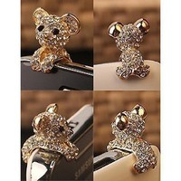 niceEshop New Crystal Dog Puppy Bear 3.5mm Antidust Anti Dust ear cap for iphone 5, HTC, Samsung