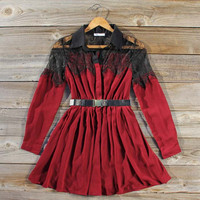 Quiet Frost Dress in Ruby, Sweet Women's Bohemian Clothing