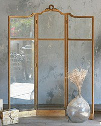 Antique French Gilt Folding Glass Boudoir Screen
