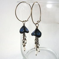 Blue Bell Flower Pearl Tassel Anodized Niobium Hoop Earrings