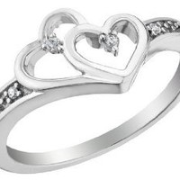 Diamond Double Heart Promise Ring in Sterling Silver: Jewelry: Amazon.com