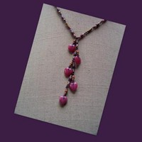 Deep Pink Glass Hearts Necklace by AthomicArtandDesign on Zibbet