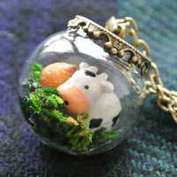 10 SALE Necklace Kawaii Terrarium Moo Cow and by timegemstone