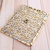Fashion Golden Flower Hollow out Case For Ipad