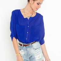 Bright On Blouse - Cobalt in  Clothes Tops at Nasty Gal