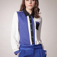 Blue Lapel Pocket Hit Color Chiffon Shirt S010072