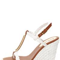 Mia Tiffany White Braided Metal Charm Wedge Sandals