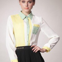 Yellow Lapel Pocket Hit Color Chiffon Shirt S010073