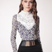 Blue Lace Pattern Beading Shirt S010069