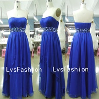 Strapless Sweetheart Chiffon Royal Blue Long Prom dresses, Evening Gown, Homecoming Dresses, Evening Dresses, Party Dresses
