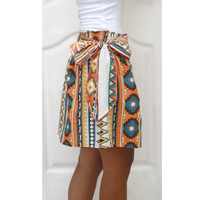 Colorful Tribal Orange Mini Skirt - Ready to ship