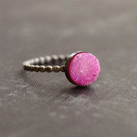 Pink Fuchsia Druzy Stone on Oxidize Sterling Silver Beaded Band - Made to Order