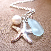 Seafoam Seaglass Necklace with Starfish & fresh water pearl - Perfect nautical gift for beach lovers, sisters, girlfriends FREE SHIPPING