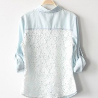 Vintage Denim Lace Back Shirt
