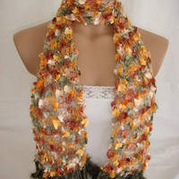 StOcK CleAranCe SaLe-60% OFF-WAS 23.90USD-Hand knitted&crocheted multicolor elegant scarf