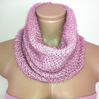 Knitted Loop Scarf, Hooded Cowl/Scarf/Neck warmer (Pink) by Arzu's Style