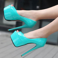 4Colors Women Sexy Open Toe Pumps 15cm High Heel Shoes Platform Stilettos Sandal