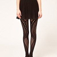 Black Gipsy Net Panel Tights at ASOS
