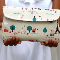 OOAK - Clutch Eiffel Tower Japanese Fabric, Padded pouch, Kawaii clutch
