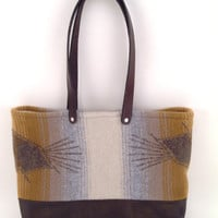 Wool and Leather Tote bag //  Wool shoulder bag with dark brown leather // Purse // Ombre // Gift for her