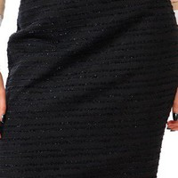 NEW - WOMENS - ESSENTIAL FRINGED BOUCLE SKIRT - BLACK - SIZE 4
