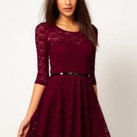 Starry Maternity Lace Skater Dress Bordeaux