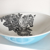 Floral Zebra vintage serving bowl by yvonneellen on Etsy