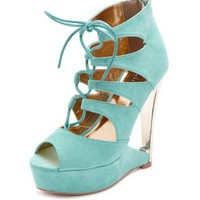 Lace-Up Sueded Ghillie Cutout Wedge: Charlotte Russe