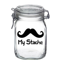 My Stache jar decal sticker vinyl Mustache funny cute