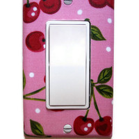Pink Cherry Rocker / GFI Switch Plate, wall decor