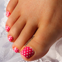 Pink Polka Dot Nail Art Water Transfer Decal by Hailthenails