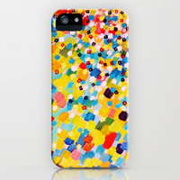SWEPT AWAY 2 - Vibrant Colorful Rainbow Mango Yellow Waves Mermaid Splash Abstract Acrylic Painting iPhone Case by EbiEmporium | Society6