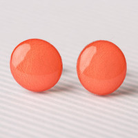 Bright Coral Post Earrings