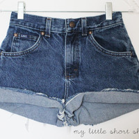High Waisted Denim Lee&#x27;s Shorts XS  HOLD for by MyLittleShortShop