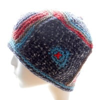 Hand crochet hat, women's crocheted beanie hat, turquoise and red and navy wool-blend hat, 4-Square Beanie, winter fashion