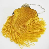 Gorgeous Art Deco Vintage Gold Beaded Evening Bag Purse Clutch Metal Frame Chain Handle Bead Fringe Flapper Wedding Ornate Art Nouveau