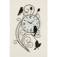 Ashton Sutton 1Metal Wall Clock with Bird Pendulum - ST3386