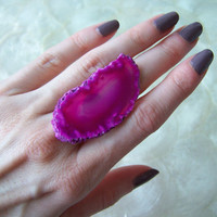 Hot Pink Agate Slice Cocktail Ring Fuchsia Gypsy by VictoryJewelry