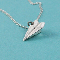Tiny Paper Airplane II Pendant/Necklace