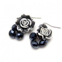Blue Crystal Rose Earrings