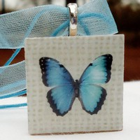 Blue Butterfly, tan checks, fun jewelry for Teens and tweens