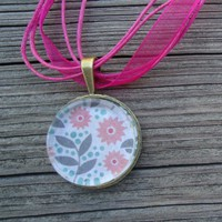 Pink Flowers : A pendant charm necklace made from a glass tile and ......