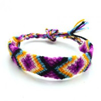 Handmade Aztec Pattern Friendship Bracelet in Purple