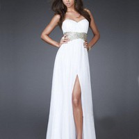 A-line Empire Waist Split Side Chiffon Prom Dress