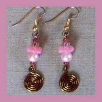 Pink Pearl Flower Earrings by AthomicArtandDesign on Zibbet