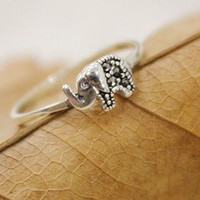 BlueBand  Sterling Silver Lovely Elephant Ring